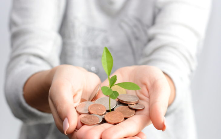 mãos com moedas ilustrativo franquia com pouco investimento