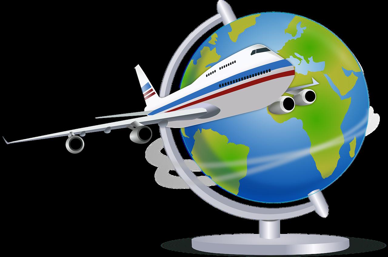 Desenho de um globo com um avião em primeiro plano. Imagem ilustrando texto franquia de turismo home office vale a pena