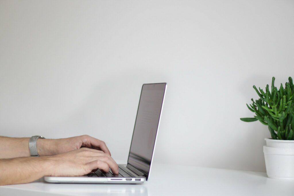 Pessoa utilizando um computador cinza em uma mesa branca com uma planta ao lado.