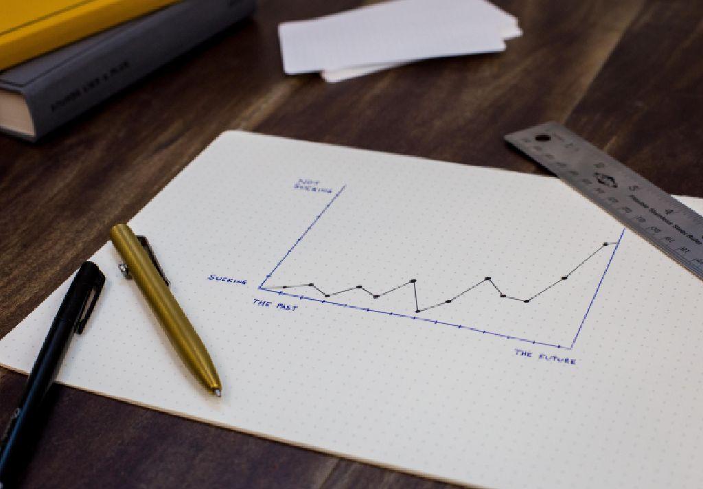 Vemos um gráfico desenhado em uma folha de papel (imagem ilustrativa). Texto: pegar empréstimo para abrir uma franquia.