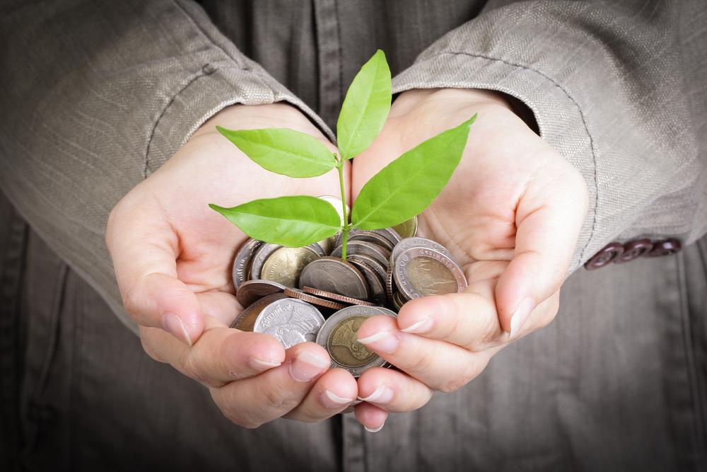 Vemos uma pessoa segurando algumas moedas com as mãos e, entre elas, há uma planta nascendo (imagem ilustrativa). Texto: franquias mais lucrativas.