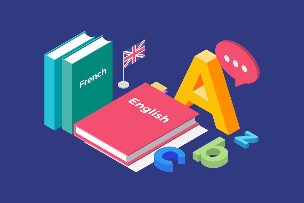 Vemos a ilustração de alguns livros de inglês em um fundo azul (imagem ilustrativa). Texto: franquias baratas 2021.