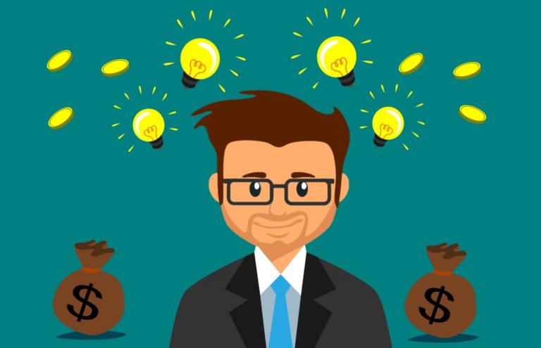 desenho de um homem executivo vestindo terno preto e em frente a um fundo verde, onde aparecem lâmpadas representando ideias, moedas e sacos de dinheiro com cifrão desenhado imagem ilustrativa texto guia como abrir uma franquia