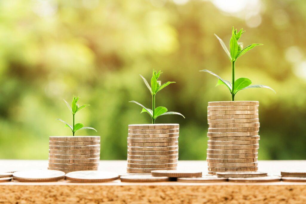 foto de três pilhas com moedas douradas e pequenas plantas no topo.