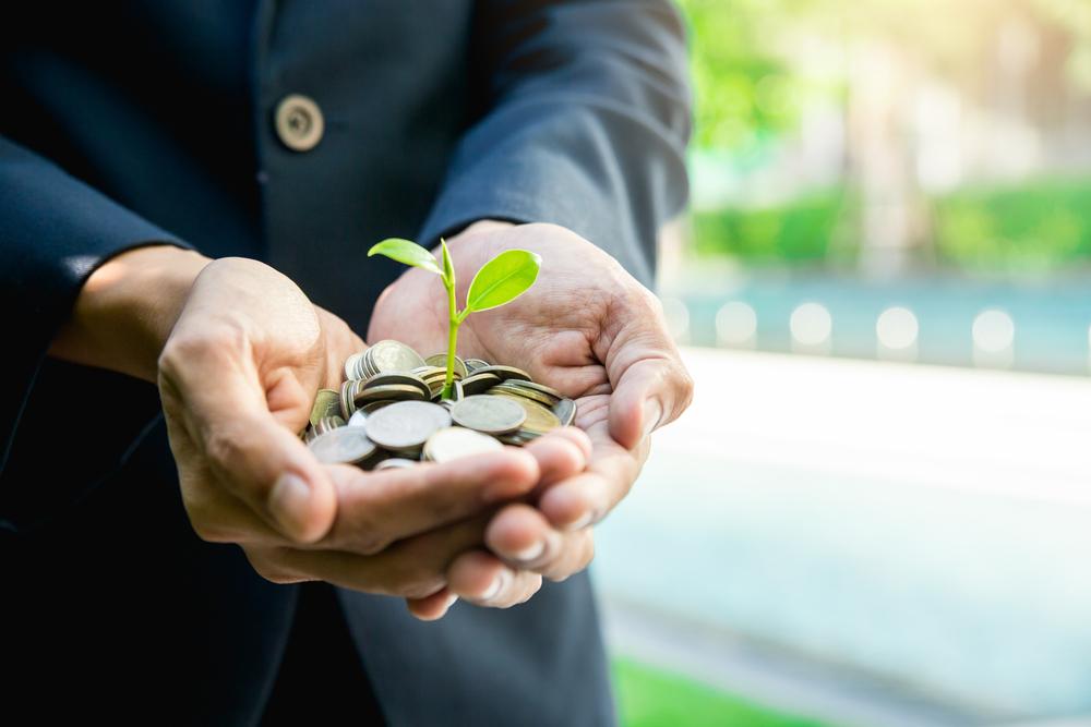 Imagem de uma pessoa segurando um punhado de moedas nas mãos e uma planta crescendo nelas.