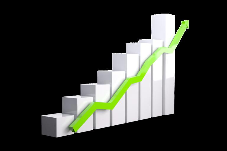Imagem de um gráfico de barras cinza com uma seta em verde apontando para cima. Imagem ilustrativa texto mercado de franquias 2021.