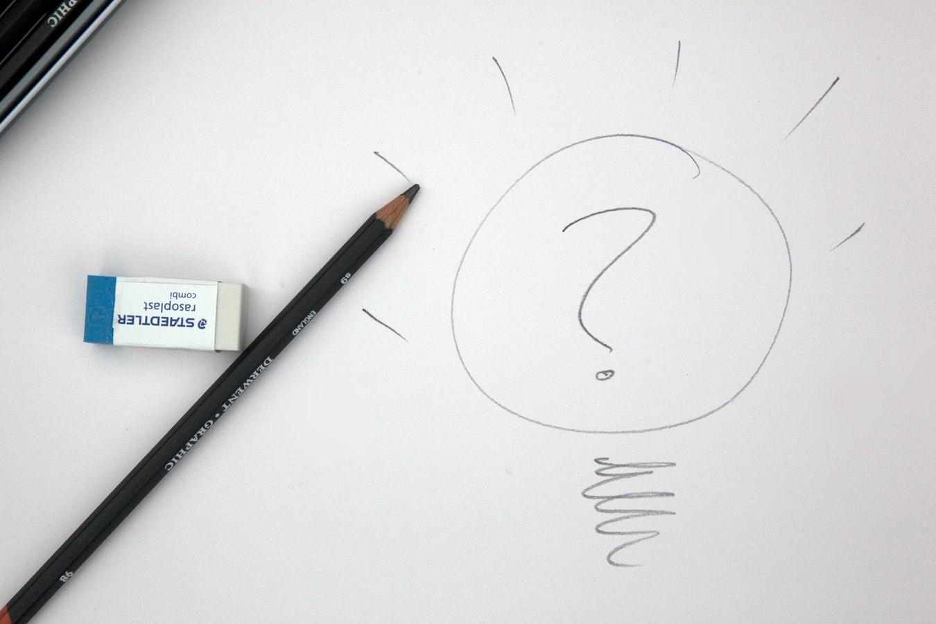Vemos um lápis e uma borracha sobre uma folha de papel branco. À direita dos objetos temos um desenho de uma lâmpada (simbolizando uma ideia) com um ponto de interrogação dentro (imagem ilustrativa). Texto: mercado de beleza.