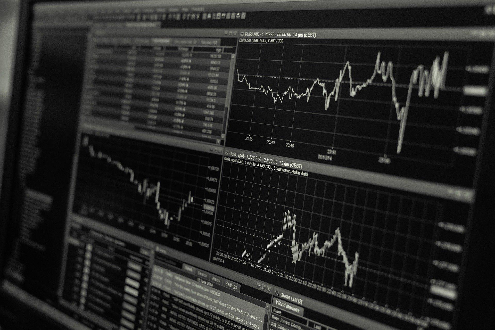 Vemos alguns gráficos em uma tela de computador (imagem ilustrativa). Texto: opção empreendimentos lucrativos.