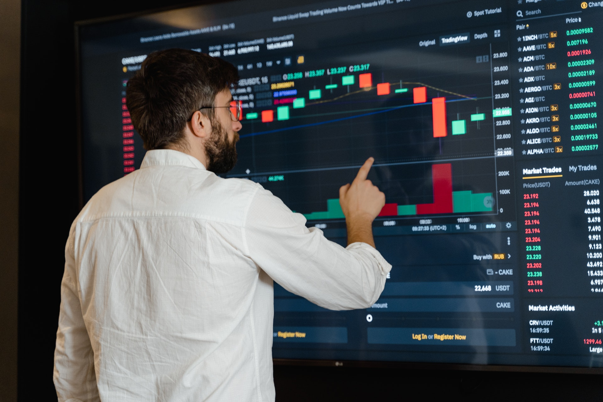 Vemos um homem consultar uma grande tela contendo gráficos de ações (imagem ilustrativa). Texto: tipos de empresas.