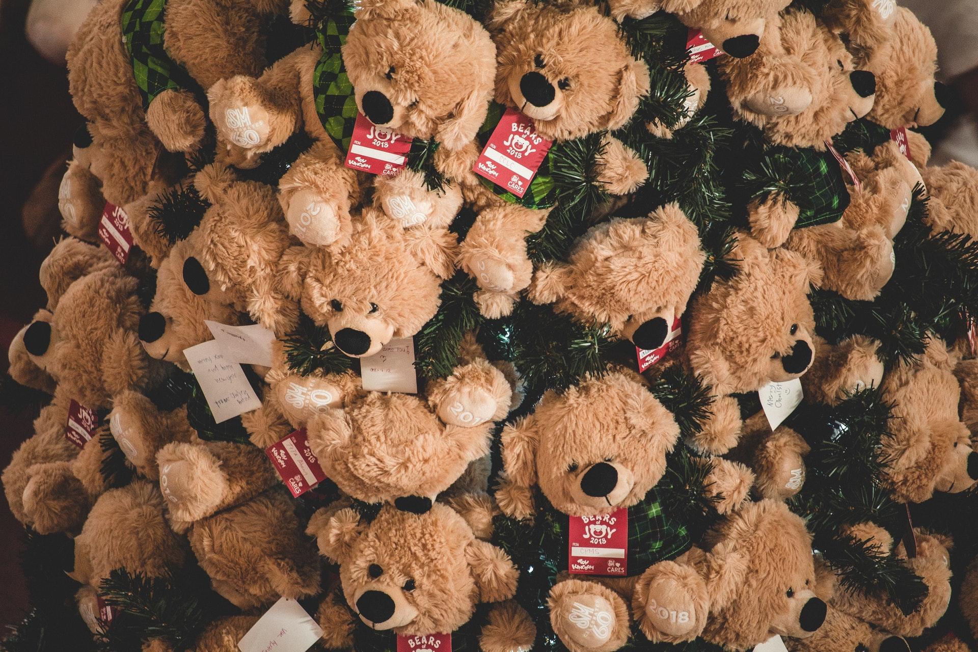 Vemos uma árvore cheia de ursos de pelúcia pendurados (imagem ilustrativa).