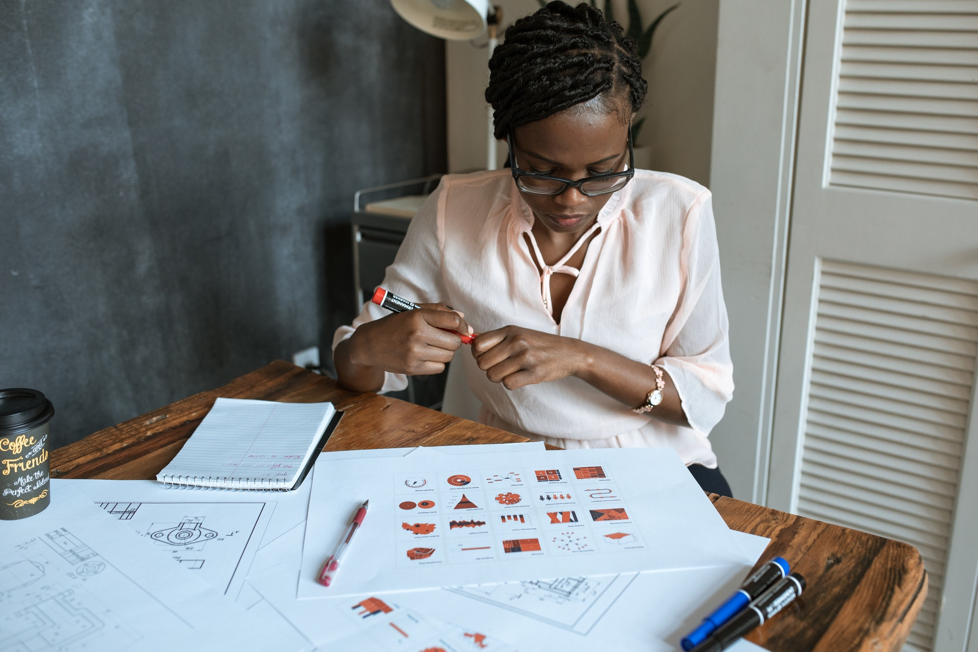 Vemos uma mulher desenhando alguns esquemas em uma folha (imagem ilustrativa). Texto: empreendedorismo na pandemia.