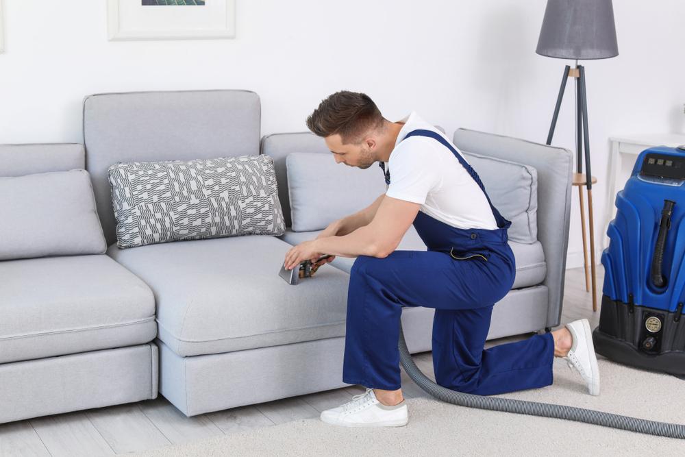 Vemos um homem fazendo a limpeza de um sofá com equipamento profissional (imagem ilustrativa).