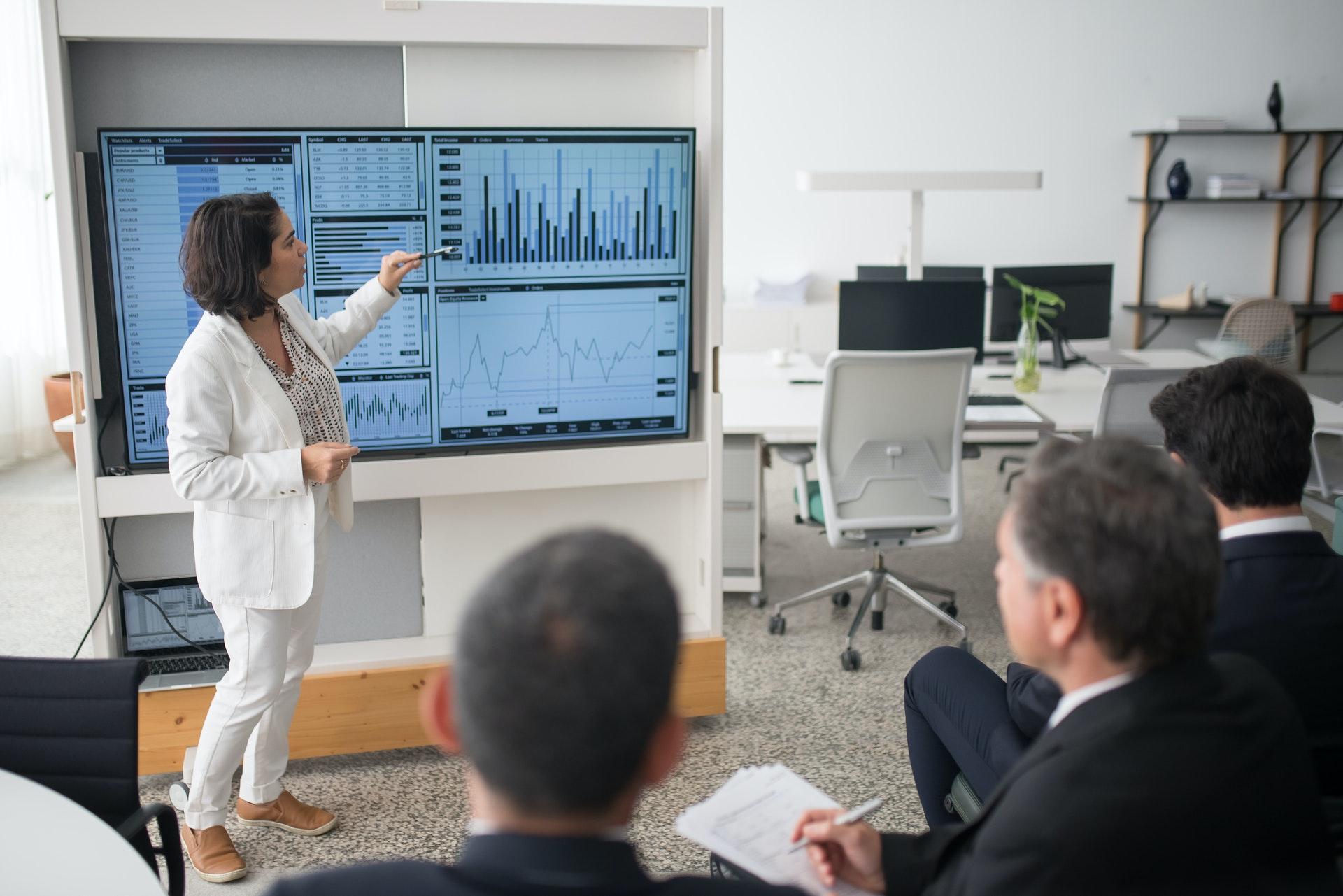 Vemos uma mulher mostrando alguns gráficos em um telão para  alguns empresários em uma escritório (imagem ilustrativa). Texto: franquias baratas e lucrativas.