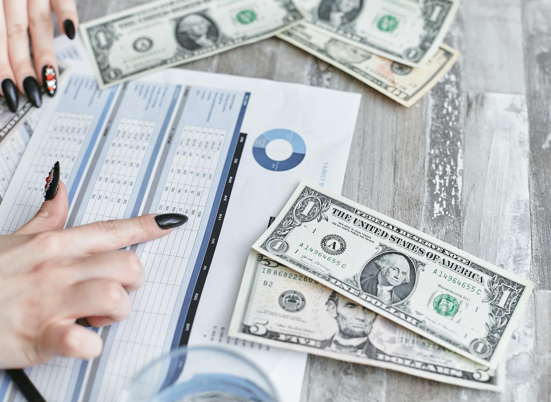 Imagem de notas de dólar na mesa e uma mão apontando uma folha com gráficos. Imagem ilustrativa texto franquias baratas e lucrativas.