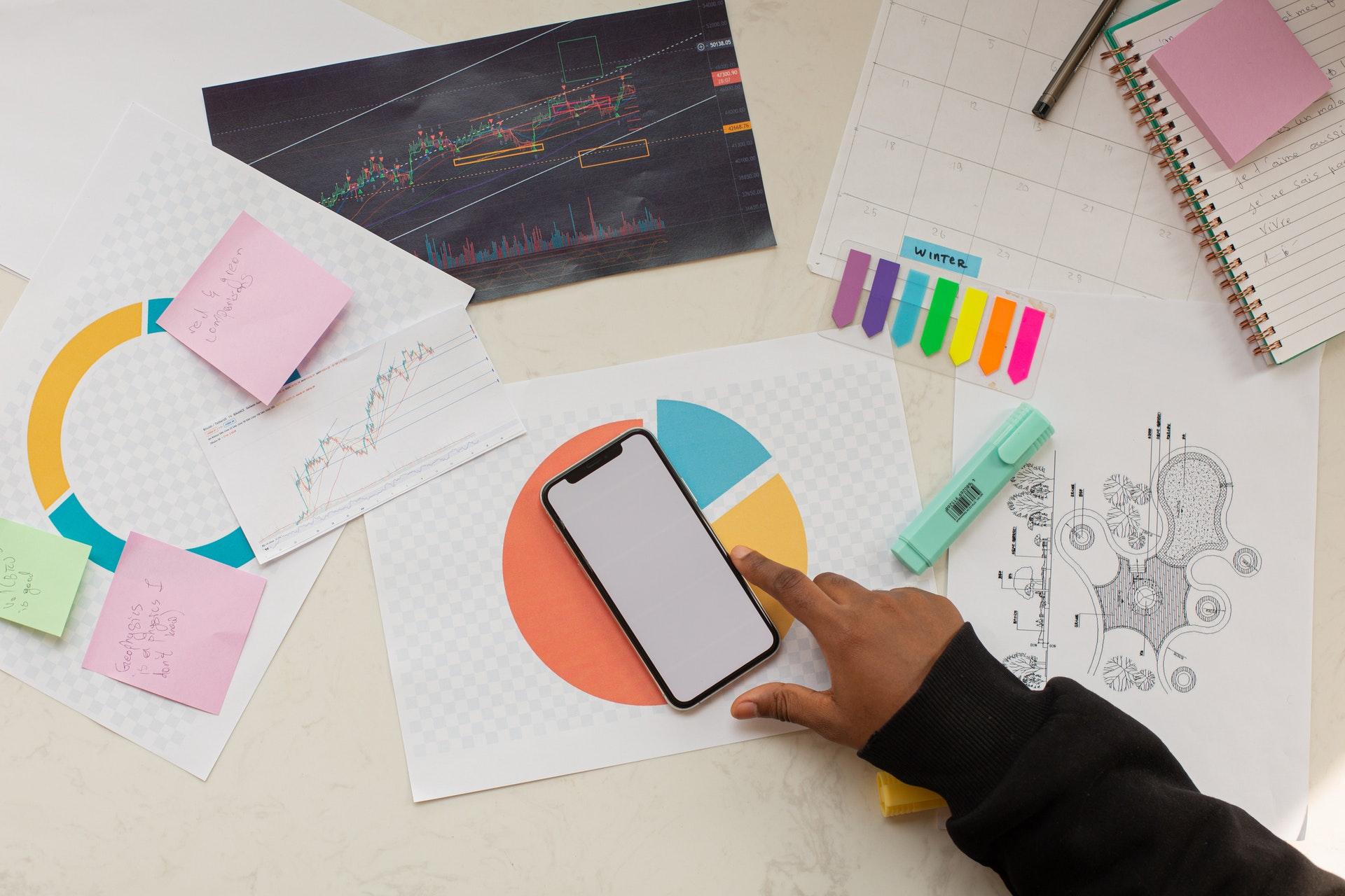 Vemos uma mesa cheia de gráficos, um telefone celular e papeis (imagem ilustrativa). Texto: mulheres empreendedoras.