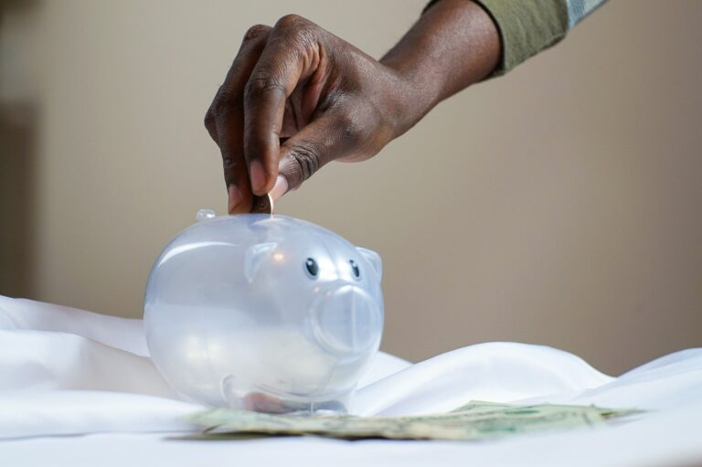 Imagem de uma mão colocando uma moeda em um cofre em formato de porco. Imagem ilustrativa texto tipos de franquia baratas.